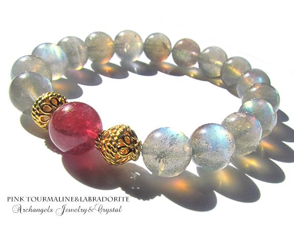 天然石 パワーストーン|ピンク ラブラドライト ピンクトルマリン ブレス