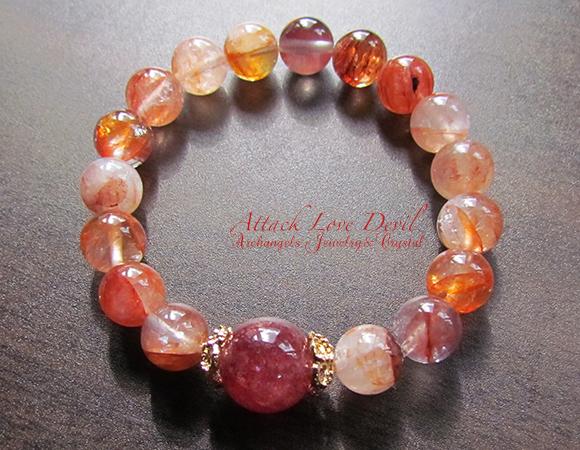 天然石 パワーストーン| ピンクエピドート ヘマタイトクォーツ ブレス