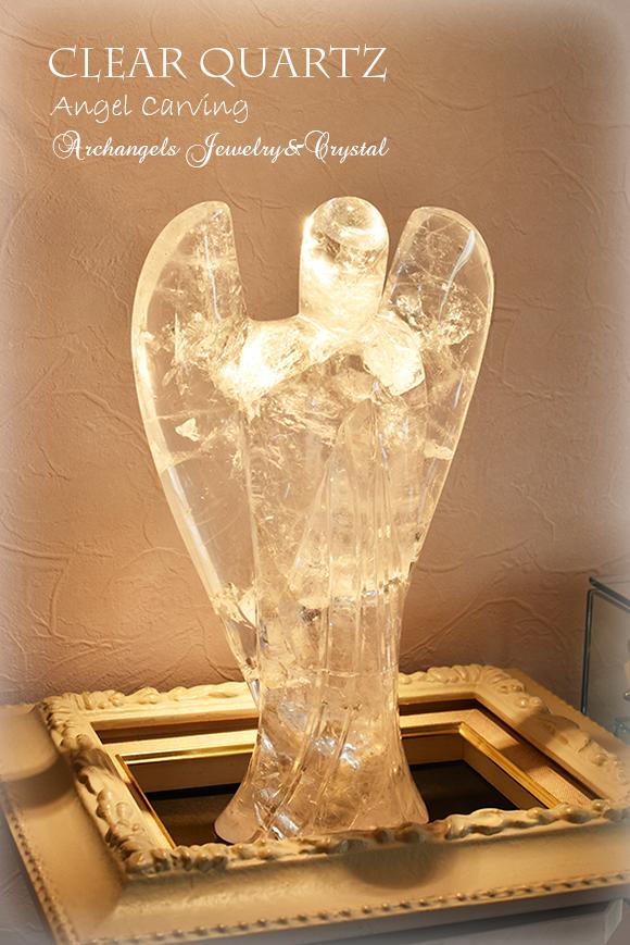 天然石 パワーストーン|水晶 クリアクォーツ エンジェル 天使 カーヴィング 彫刻 オブジェ 浄化 アーキエンジェルズ