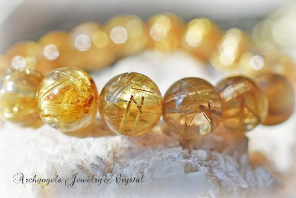天然石 パワーストーン|ルチルクォーツ 針水晶 針入り水晶 金運 開運 財運 パワーストーンブレスレット アーキエンジェルズ