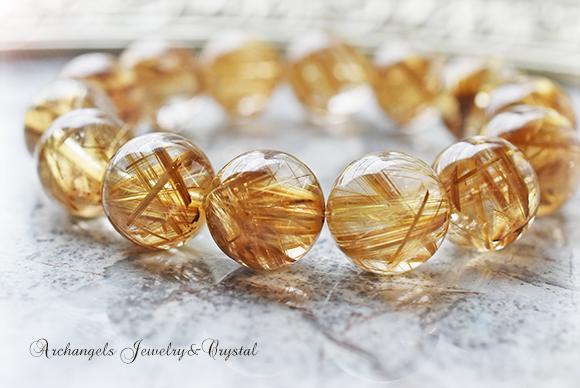 天然石 パワーストーン|タイチンルチルクォーツ 針水晶 針入り水晶 金運 開運 財運 ブレスレット アーキエンジェルズ