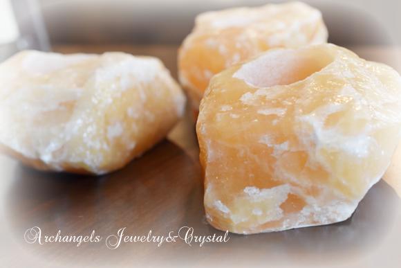 天然石 パワーストーン|  オレンジカルサイト キャンドルホルダー 原石 ヒーリング 癒し